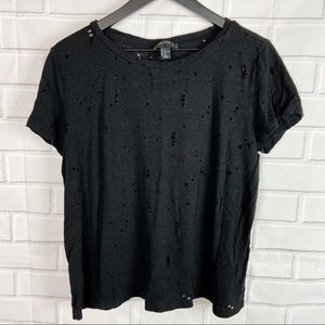 Forever 21 destroyed distressed black tee 1X holes